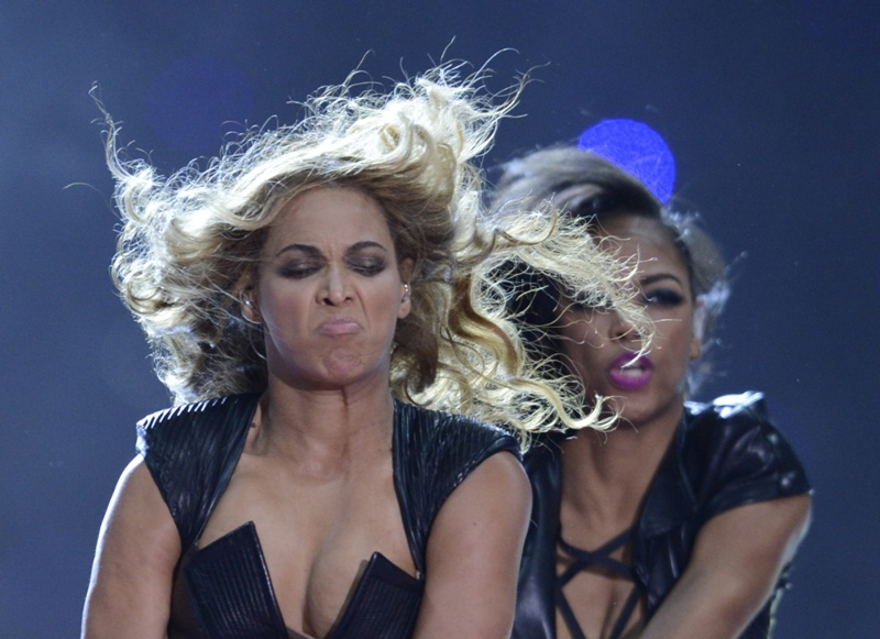 Beyonce performs during the Super Bowl XLVII Halftime Show at the Mercedes-Benz Superdome on February 3, 2013 in New Orleans, Louisiana.   AFP PHOTO / TIMOTHY A. CLARY        (Photo credit should read TIMOTHY A. CLARY/AFP/Getty Images)